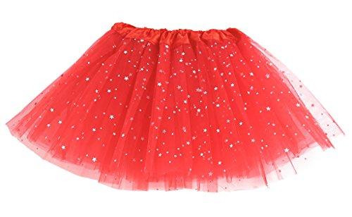 MIOIM Kinder Mädchen Rock Sequin Bling Sterne Tüllrock Tutu Petticoat Ballettröckchen Tanzrock Minirock (Rote Tutus Erwachsene Für)