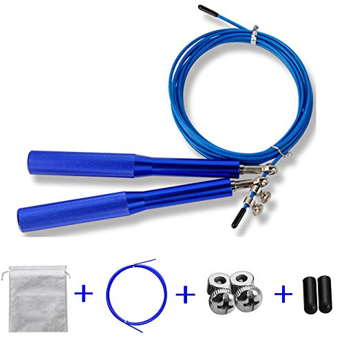 FUNCUBE-Skipping-Rope-Wire-Speed-Jump-Rope-Adjustable-with-Balls-Bearing-for-Crossfit-Fitness-Weight-Loss-Sports-Exercises-Blue