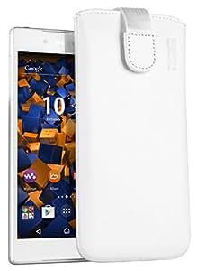 mumbi ECHT Ledertasche für Sony Xperia Z5 Tasche Leder Etui weiss (Lasche mit Rückzugfunktion Ausziehhilfe)