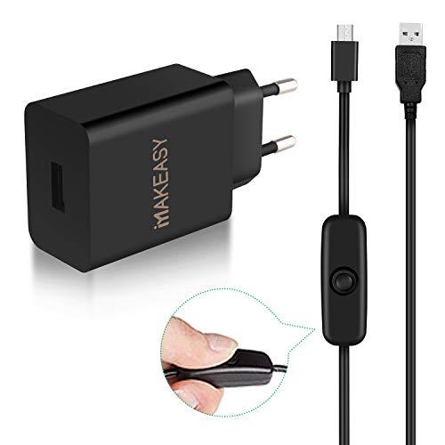 MAKEASY Micro USB Stecker Netzteil 5V 3A EU DC Adapter Strom Kabel mit EIN/Aus Schalter für Raspberry Pi 3 Model B B+ Und Geräte mit Micro USB Port, Schwarz 1.5m -