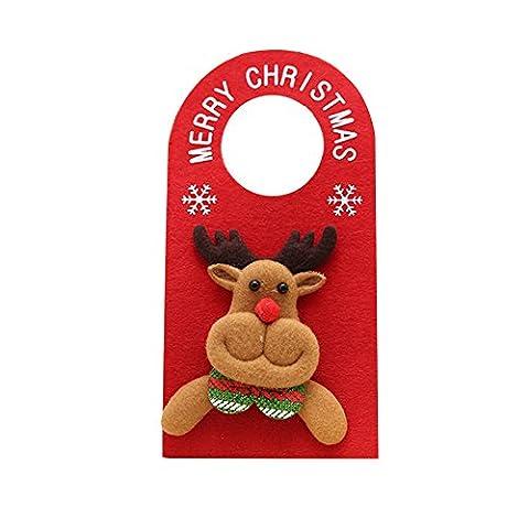 gloryhonor Lovely Cartoon Weihnachts Santa Claus Schneemann Elch Bär Weihnachten Tür Aufhänger Decor, Moose*, 22.5cm x 11.5cm