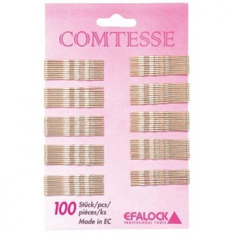 Efalock Professional Comtesse Haarklemmen gewellt, braun, 5 cm, 1er Pack, (1 x 100 Stück)