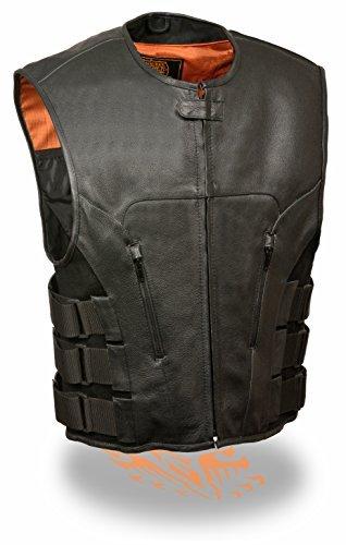 Milwaukee Leder Herren Bullet Proof Look SWAT Motorrad Club Weste W/Single Panel Rückseite & Dual Innen Gun Taschen