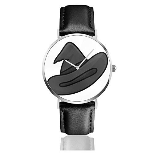 Business Analog Watches,Witch Hat Isolated On White Classic Stainless Steel Quartz Waterproof Wrist Watch with Leather Strap