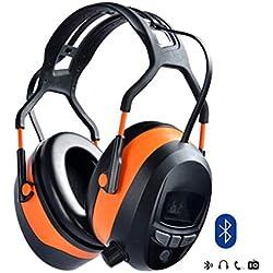 Gardtech Ear Defenders Casque stéréo rembourré de protection avec radio FM, Casque de sécurité stéréo Casque antibruit compact avec écran LCD et 4G-Carte SD-SNR 29DB