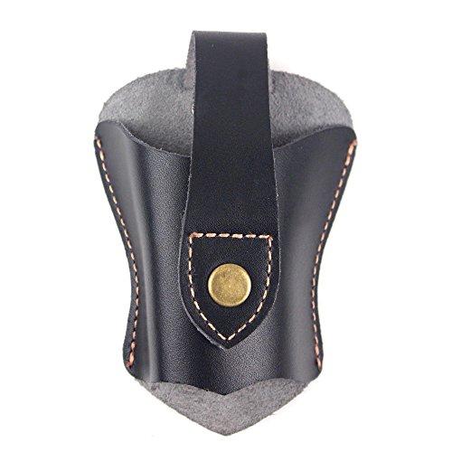 Unbekannt Praktische Echte Leder Jagd Slingshot Tasche Katapult Gürtel Open Bottom, Herren Damen, schwarz