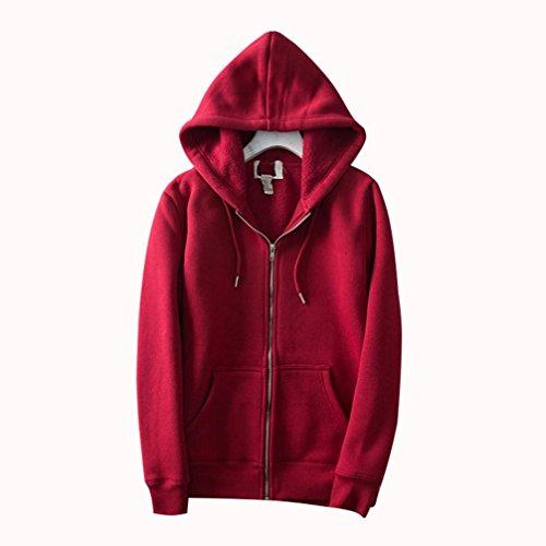 ZFANG Capispalla Felpa con cappuccio Camicetta Camicetta maglione Cardigan tinta unita Zip tasca con coulisse Casual Daily T -shirt Tops , red , l red