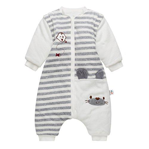 Bambino sacco nanna con piedini, neonati inverno sacco a pelo con gambe separate e maniche smontabili, 9-24 mesi