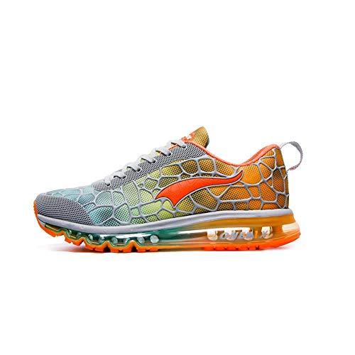 ONEMIX Herren Air Laufschuhe Sportschuhe mit Luftpolster Turnschuhe Leichte Schuhe Grau orange Größe 46 EU -