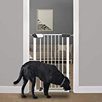 Callowesse® Saluki Tall Narrow Pet Gate. Pressure Fit 96cm Tall Stair Gate, Use around the Home, Red/Green Locking Indicators. White Steel.