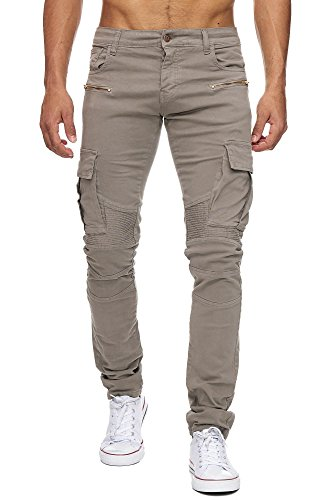 MEGASTYL Herren Biker Jeans Hose Cargo Taschen Stretch-Denim Slim Fit , Größe:W31 / L34, Farbe:Khaki (Khaki Baumwoll-stretch)