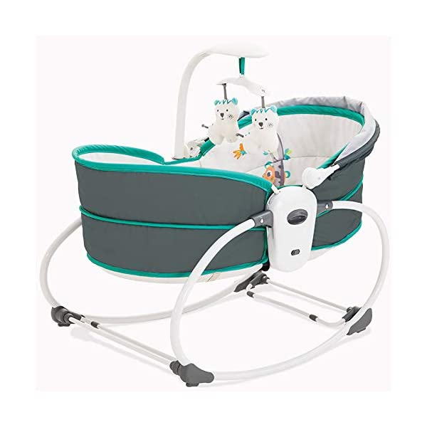 ZXYSHOP Baby Electric Baby Cradle Vibration Crib Bed Rocking Chair Automatic Comfort Chair Shaker Can Sit Chair Lift Basket Cradle,Black  ●Folded flat for easy storage and transportation ●This cot is equipped with a safety belt and non-slip feet for safety. ●Safety system: three-point seat belt, safety protection for baby legs, ankles and abdomen, shield to cover the buckle, baby can not unlock themselves, to avoid accidents. 1