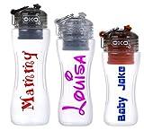 Targhetta adesiva personalizzabile con nome, per borracce e bottiglie, in vinile, x 2
