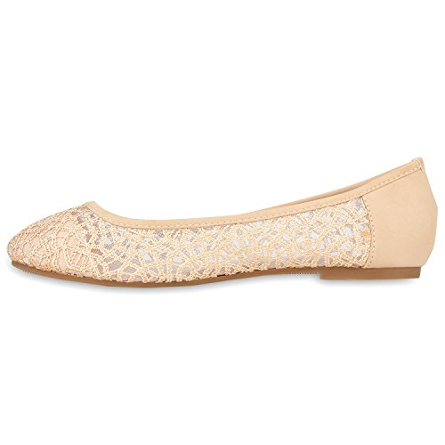 Damen Ballerinas   Slipper Flache Schuhe   Spitze Häkeloptik   Feminine Slip-ons   Stoffschuhe Strass Metallic Nude Muster