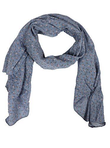 Zwillingsherz Seiden-Tuch Damen Blumen Muster - Made in Italy - Eleganter Sommer-Schal für Frauen - Hochwertiges Seidentuch/Seidenschal - Halstuch und Chiffon-Stola Dezent Stilvoll blau