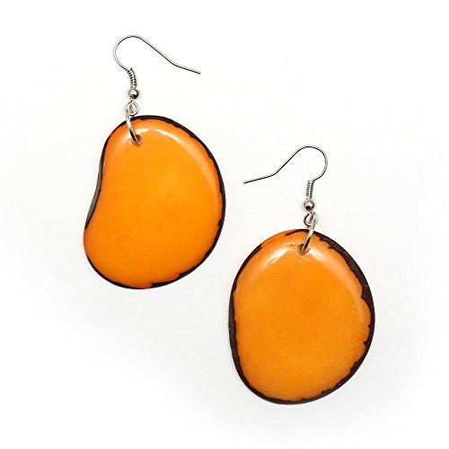 Idin Tagua Ohrringe - Orange Tagua Scheiben (Steinnuss) (ca. 6 cm)