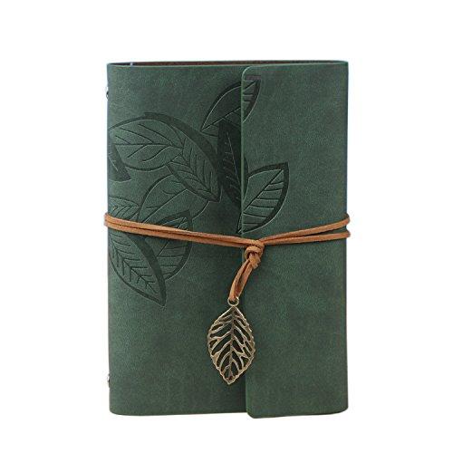 Notebook/diario riutilizzabile/album/quaderno con copertina in PU (Verde intenso, 5.41 X 7.7 pollici, 165*235mm) -Wenosda