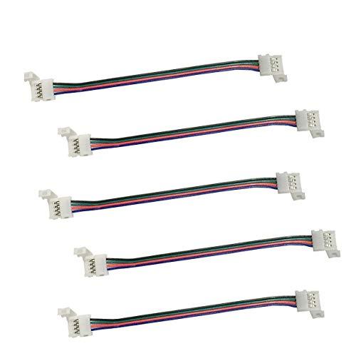 Cooligg 5x LED RGB Verbinder 4 polig 16.8cm, Verbindungskabel mit 2 Verbinder, Schnellverbinder für 4pin Led Strips SMD LED Streifen Connector Steckverbinder, LED Zubehör, Rechnung per Email
