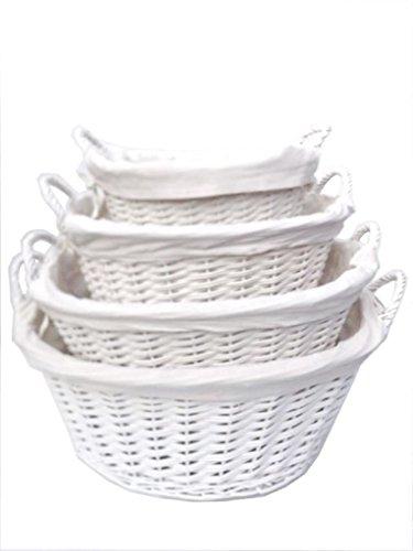 Weiß Country Style Full Wicker Wäschekorb Log Kamin Aufbewahrungskorb gefüttert Griffen, weiß, Medium 48x30x22cm (Gefüttert-speicher-körbe)