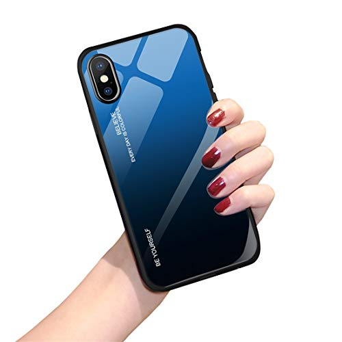 Hülle für iPhone X XS,Handyhülle iPhone XS MAX Glashülle [Ultra Hybrid Silikon TPU mit Gradient 9H Panzerglas] iPhone XR Case Cover Tasche Schale Kratzfeste Schutzhülle für iPhone XR(iPhone XS MAX, 7) Schale Cover