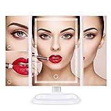 Kosmetikspiegel beleuchtet,OSCHARM LED Spiegel mit 1X/2X/3X Vergrößerung und Faltbar Schminkspiegel mit Beleuchtung Make-up Spiegel 180°Drehbarer Vergrößerungsspiegel(Akku oder USB)