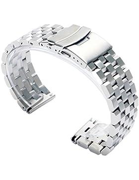 fasiou 24mm Edelstahl massiv Band Gurte 2,4cm Breite Armbanduhr Band doppelte Verriegelung Fold Over Schließe...