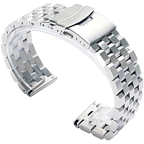 FASIOU banda de acero inoxidable sólido de 20mm correas 2.0cm ancho correa de reloj de pulsera con cierre doble con cierre–plata