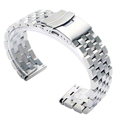 fasiou 20mm Edelstahl massiv Band Riemen 2.0cm Breite Armbanduhr Band doppelte Verriegelung Fold Over Schließe Herren Silber