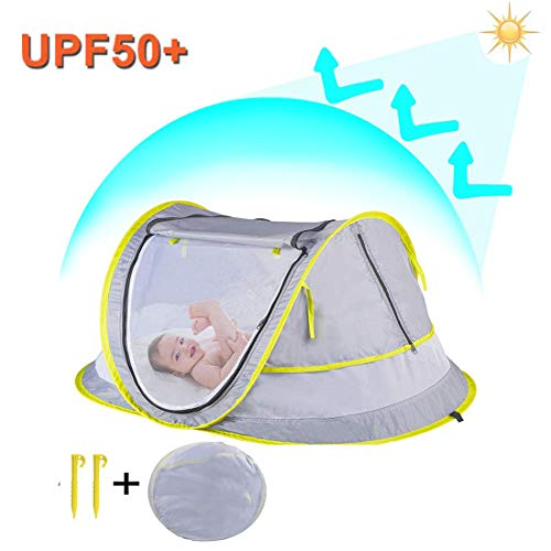 StillCool Cuna plegable portátil Pop Up Beach Tent Sun Shelter con 2 clavijas plegables cuna infantil...