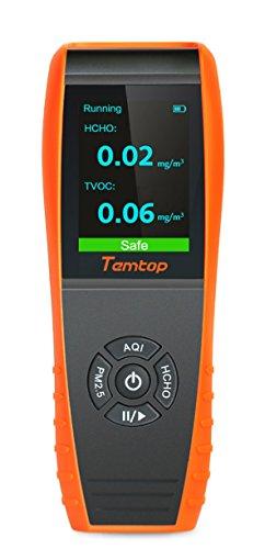 Temtop, misuratore di qualità dell\'aria, misuratore di formaldeide (HCHO), misuratore di polveri sottili (PM2,5, PM10) e TVOC (composti organici volatili), test precisi per case, auto e spazi aperti