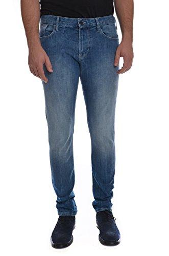 ARMANI JEANS J06 lavaggio chiaro, jeans cotone 5 tasche uomo, vestibilità slim