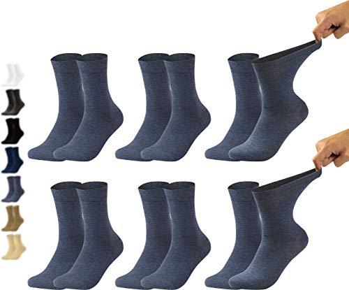 Vitasox 31035 Chaussettes homme extra-larges en coton, chaussettes médicales sensibles sans élastique sans couture 6 paires bleu jeans 47/50