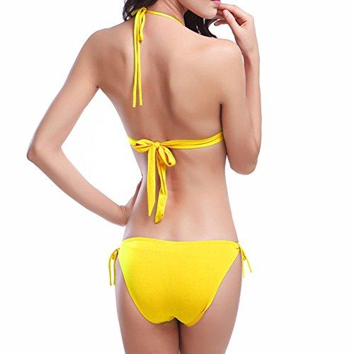 Meijunter Donna Bikini Set Raccogliere Insieme Reggiseno Costumi da bagno Spiaggia Bendare Costume da bagno Biancheria intima Yellow
