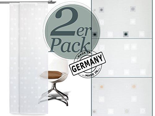"""Doppelpack zum Super-Preis! Lichtdurchlässiger Schiebevorhang """"Jolina"""" von Deko Trends in klarem und modernem Design mit quadratischen Elementen ~ in 3 Farbkombinationen erhältlich, ca. 245 cm x 60 cm, natur"""