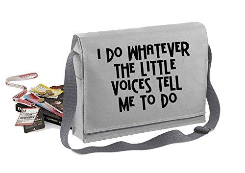 Little Voices-Unisex-lustige Sprüche Neuheit Bagbase Konferenz Messenger Bag- Grau