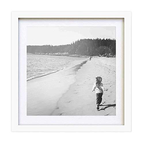 PF&A Weiß Quadratischer Bilderrahmen - 25x25 cm mit Passepartout für 20x20 cm - Glas Scheibe/Breite des Rahmens 2 cm