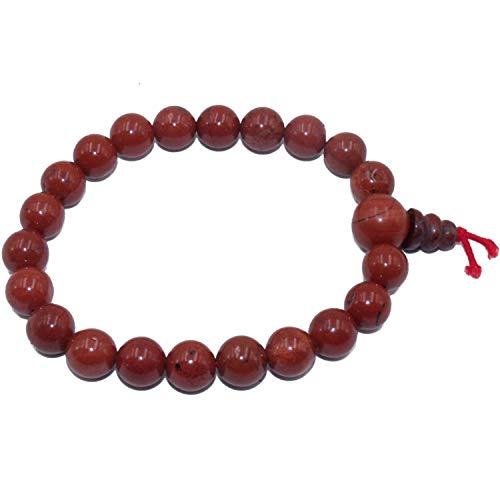 Bracciali di diaspro rosso pietra naturale - pietra otondo 8 mm - elastico resistente - per donna o uomo - mala buddista tibetano - cristalloterapia