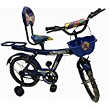 """Rising India™ 16"""" Blue kids Balloon Bicycle for 5-7 years double seated with basket and side wheel (Semi Assembled)"""
