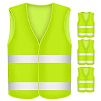 BUZIFU 4 Pcs Safety Reflective Vests, Yellow High Visibility Vest, to Improve Visibility at Night or in Low Light Conditions, for Running/Biking/Walking