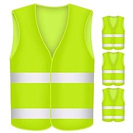 BUZIFU 4 Pezzi Giubbotto Catarifrangente Gilet Alta visibilità Gilet di Sicurezza Giallo per Auto Moto Bici Muratore…