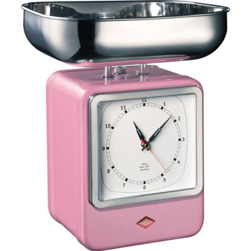 A decorative eyecatcher that combines two features: kitchenscale on the one and kitchen clock on the other side. The retro-style kitchen scale has a capacity of 4 kg, the large stainless steel measuring bowl is dishwasher safe.