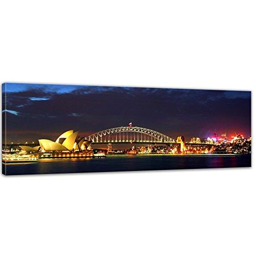 Kunstdruck - Sydney Opera House und die Harbour Bridge - Bild auf Leinwand - 90 x 30 cm - Leinwandbilder - Bilder als Leinwanddruck - Städte & Kulturen - Australien - Sydney bei Nacht