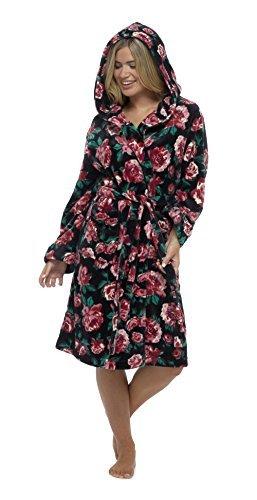 Femmes Floral Brillant Polaire Robe De Chambre Peignoir Hiver Chaud Noir