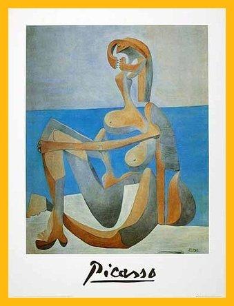 stdruck Baigneuse assise au bord de la mer mit Holz Rahmen in Gelb ()