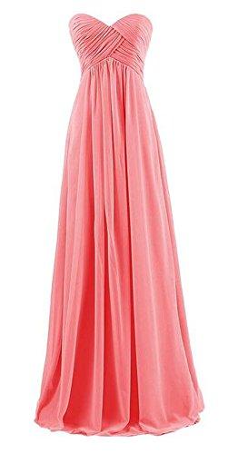 Arrowhunt Damen Chiffon Lange Elegant Bandeau Party Kleider Brautjungfernkleid mit Zurückreißverschluss Rosa 2