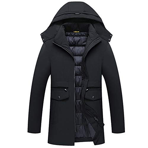 Price comparison product image NPRADLA Men's Autumn and Winter Medium Length Thickening Warm Hooded Cotton Coat Jacket Outerwear