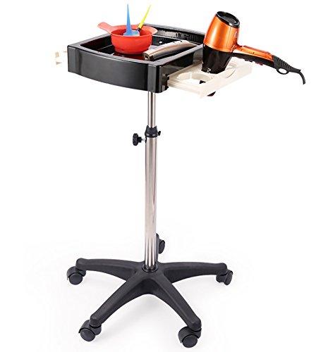 Professionel Salon Friseurwagen Rollwagen Trolley Haar Farbe Dauerwelle Tablett Bedienung Wagen 5 Mobile Räder mit Haartrockner Halter