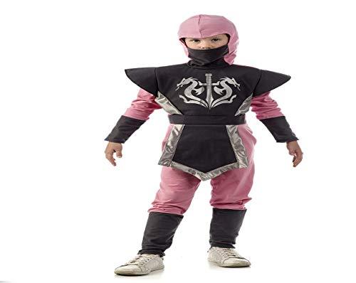 Limit Sport Ninja Warrior Kostüm Kinder 2Stück Overall mit Kapuze für Karneval Mardi Gras grau pink 9 - 11 Jahre - Ninja Warrior Kind Kostüm