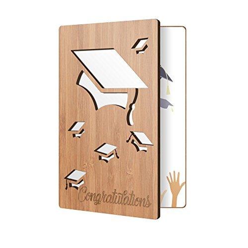 Premium Congratulations Karte: Bambus Holz Grußkarte, handgefertigt Karte perfekt für Spruch 'zu einer letzten Congrats Graduate (4 Grad Wort-karte)