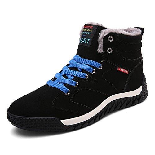AFFINEST High-top Più velluto Stivali Donna Uomo Tooling Stivali in Vera Pelle Invernali scarpe sneakers(Nero-A,43)